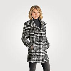 Manteau à carreaux et col montant