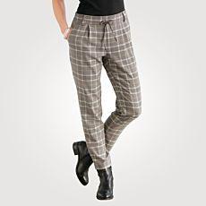 Pantalon à carreaux et taille élastique