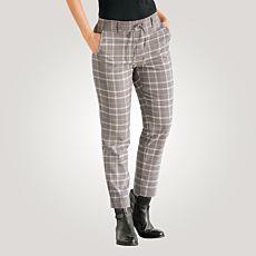 Pantalon à carreaux avec ceinture à nouer