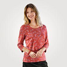 3/4 Arm Shirt Damen Alloverprint Tiger