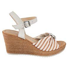 Tamaris Sandalette aus Textil und Leder mit Keilabsatz