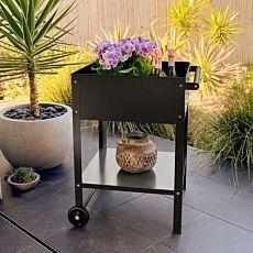 Jardinière surélevée mobile pour terrasses, 80x55x55 cm