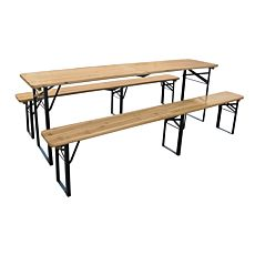 Garniture pliante (table + 2 bancs)