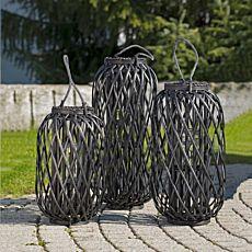 Laterne aus Bambus schwarz