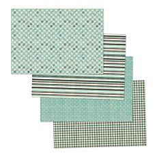 Papiertischset Punkte, Streifen, Karos und Kreise