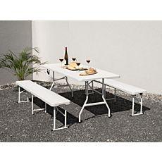Garniture de fête pliante et modulable en matière synthétique look bois, blanc
