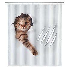 Duschvorhang Katze braun-weiss