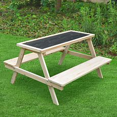 Table et bancs Moritz, 89x84x50 cm, avec tableau noir