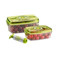 Vakuum-Lebensmittel-Behälter 2er Set mit Vakuum-Pumpe