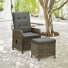 Hochlehner Sessel mit Hocker