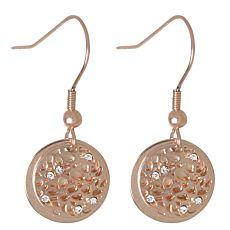 Pendants d'oreilles en acier chirurgical 316L avec cristaux, couleur or rose