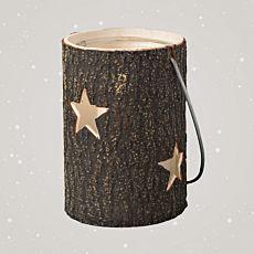 Windlicht aus Holz mit Henkel und Stern Motiv