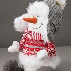 Bonhomme de neige avec bonnet gris à pompon