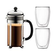 Bodum Kaffeebereiter 1 l und 2 Gläser 0.35 l