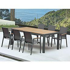 Ausziehbarer Gartentisch mit 6 Armlehnstühle