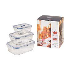 Aufbewahrungsbox 3er Set, Pyrexglas mit Kunststoffdeckel 38cl, 82cl, 122cl