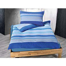 Bettwäsche mit Querstreifen in schönen Blautönen