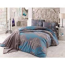 Bettwäsche mit Ornamenten braun-blau