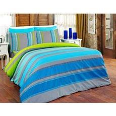 Bettwäsche gestreift grau-blau-grün