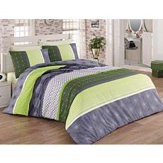 Linge de lit orné de mandalas vert-gris-blanc