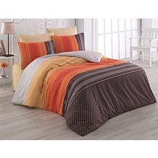 Bettwäsche Streifen orange-gelb-weiss braun mit Muster