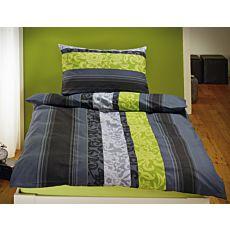 Linge de lit avec ornements et rayures anthracites