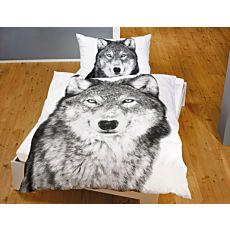 Bettwäsche mit Wolf-Motiv schwarz-weiss