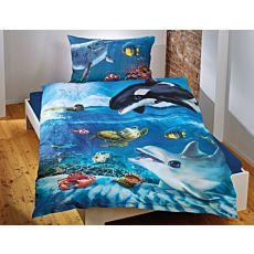 Linge de lit avec ravissants animaux marins dans l'océan