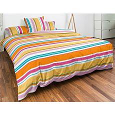 Linge de lit à rayures multicolores décoratives