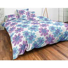 Bettwäsche mit Blüten in Blau und Violett