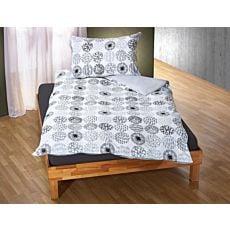 Bettwäsche mit kreisförmigen Mustern grau-weiss