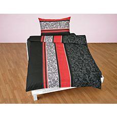 Linge de lit à rayures transversales et beau motif ornemental