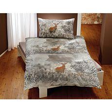 Bettwäsche mit braunem Hirsch und feinem Mandala-Muster