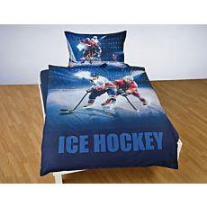 Bettwäsche mit Eishockeyspielern auf dem Eis