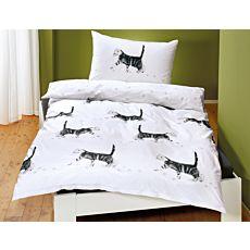 Bettwäsche in Weiss mit Katzenmotiv