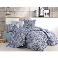 Linge de lit avec motif d'étoiles et de croix, bleu