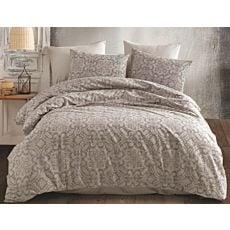 Linge de lit à motif décoratif en tons gris clair et foncé