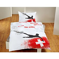 Bettwäsche mit Fussballspieler und schweizer Kreuz auf weissem Untergrund