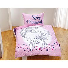 Bettwäsche in rosa mit weissem Einhorn und magischem Sternenmuster