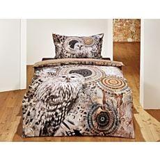 Bettwäsche in Brauntönen mit Eulen-Motiv und Mandalas