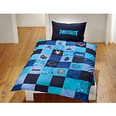 """Bettwäsche zum bekannten Onlinespiel """"Fortnite"""" in blau"""