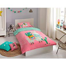 Bettwäsche mit niedlichem Lama und Kaktustopf auf rosa Hintergrund