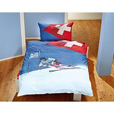Linge de lit avec skieur et croix suisse