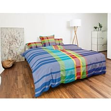 Linge de lit aux rayures colorées