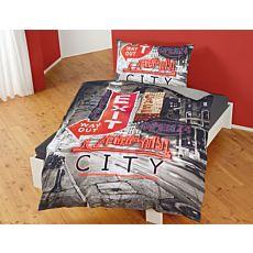 Bettwäsche mit amerikanischen Schildern und Skylinemotiv