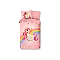 Bettwäsche rosa mit Einhorn und buntem Regenbogen