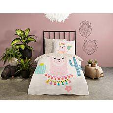Bettwäsche mit süssem Lama in rosa und türkisfarbenen Kakteen