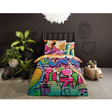 Linge de lit au motif de graffiti colorés
