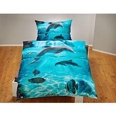 Bettwäsche mit Delfinen und Fischen in schönem Meeresprint