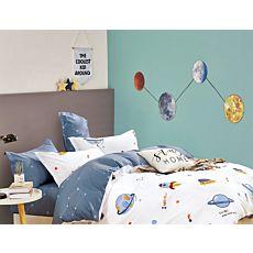 Bettwäsche mit bunten Planeten, Raketen und Raumschiffen